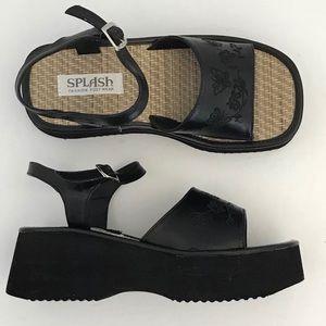 Splash Black Sandal Fashion Foot Wear Women's  6.5